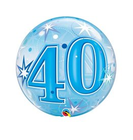 Qualatex BALLON BUBBLES 40 ANS BLEU