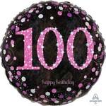 Anagram BALLON MYLAR 18PO - 100 ANS ROSE