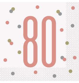 Unique SERVIETTES DE TABLE ROSEGOLD (16) - 80ANS