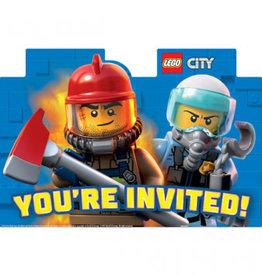 Amscan INVITATIONS (8) - LEGO CITY