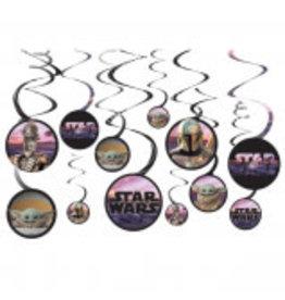 Amscan DÉCORATIONS SUPENDUES (12)  - MANDALORIAN (Star Wars)