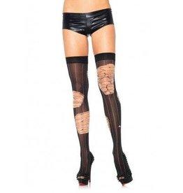 Leg Avenue Distressed striped thigh highs O/S BLACK/NUDE