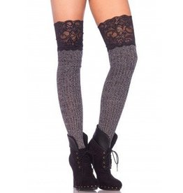 Leg Avenue Ribbed knit over the knee slouch socks with wide lace top O/S GREY/BLACK