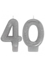 Amscan CHANDELLES D'ANNIVERSAIRES SCINTILLANTES 40 ANS - ARGENT