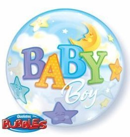 "Qualatex BABY BOY MOON & STAR 22"" BUBBLES"
