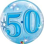 Qualatex BALLON BUBBLES 50ANS BLEU