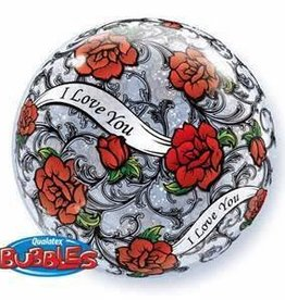 Qualatex BALLON BUBBLES 22PO ROSES ROUGE I LOVE YOU