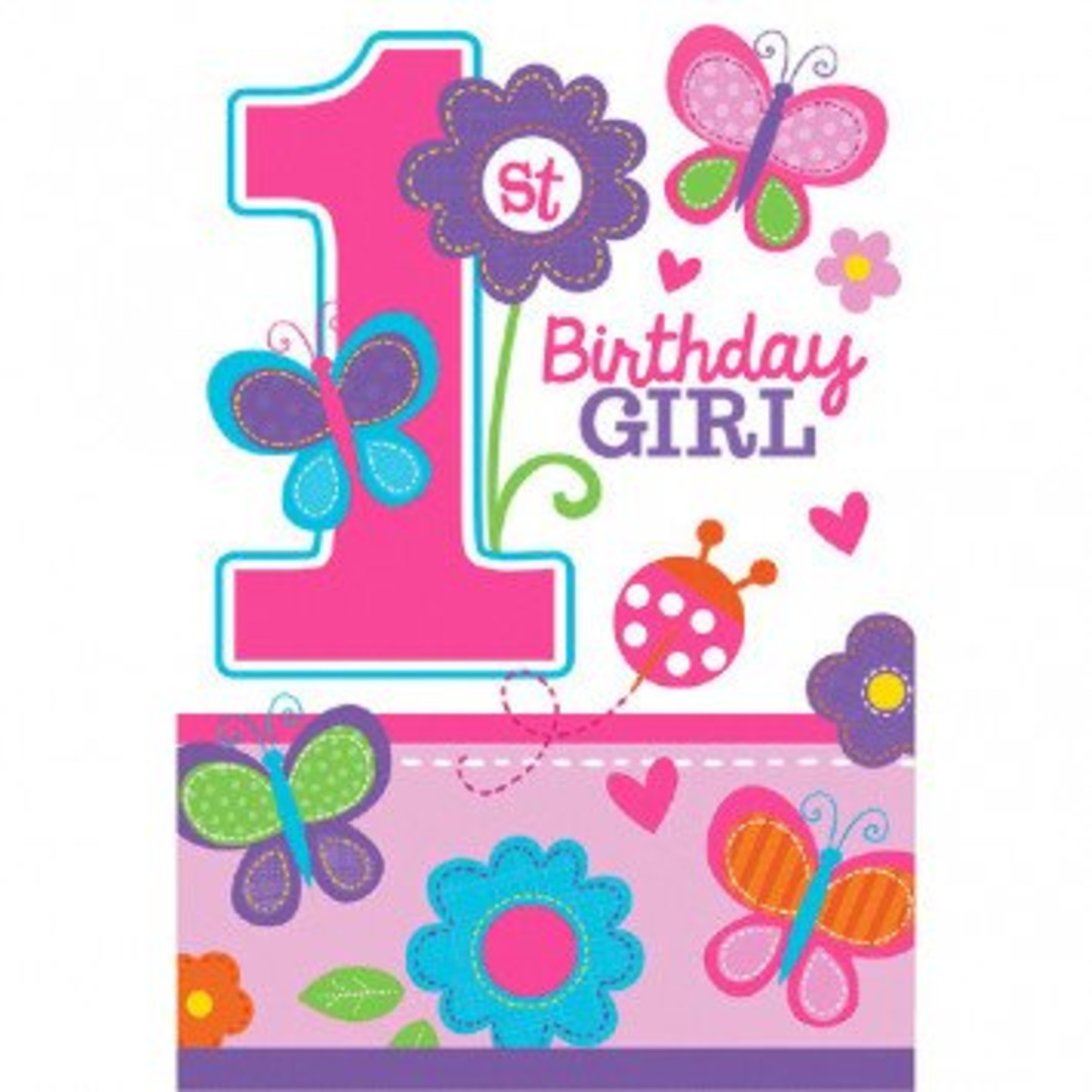 Amscan INVITATIONS - 1ER ANNIVERSAIRE PAPILLONS (8)