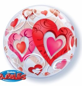"Qualatex RED HEART & FILIGREE 22"" BUBBLE"