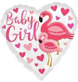 Anagram BALLON MYLAR 18PO - BABY GIRL FLAMANT ROSE