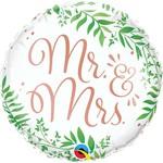 Qualatex BALLON MYLAR 18PO -  MR & MRS AVEC FEUILLES
