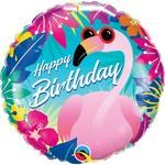 Qualatex BALLON MYLAR 18PO - HAPPY BIRTHDAY FLAMANT ROSE EXOTIQUE