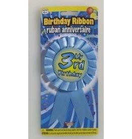 Forum Novelty RUBAN DE FÊTE - MY 3RD BIRTHDAY BLEU
