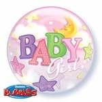 Qualatex BALLON BUBBLES BABY GIRL ROSE