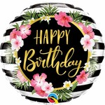 Qualatex BALLON MYLAR 18PO - FLEURS ET RAYURES HAPPY BIRTHDAY