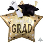 Anagram BALLON MYLAR SUPERSHAPE - 3D CONGRATS GRAD (ÉTOILE OR)