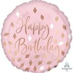 Anagram BALLON MYLAR 18PO - ROSE ET DORÉ (HAPPY BIRTHDAY)