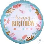 Anagram BALLON MYLAR 18PO - FÊTE BOHO SATIN (HAPPY BIRTHDAY)