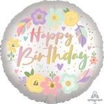Anagram BALLON MYLAR 18PO - FÊTE BOHO SATIN PASTEL (HAPPY BIRTHDAY)