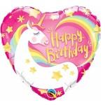 Qualatex BALLON MYLAR 18PO - COEUR - HAPPY BIRTHDAY LICORNE