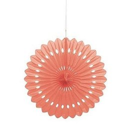"Unique PAPER DECO FAN 16"" - CORAL"