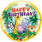 Qualatex BALLON MYLAR 18PO -- HAPPY BIRTHDAY ANIMAUX JUNGLE