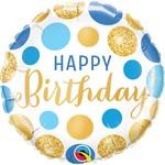 Qualatex BALLON MYLAR 18PO - HAPPY BIRTHDAY ( POIS BLEU ET OR )