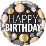 Qualatex BALLON MYLAR 18PO - HAPPY BIRTHDAY ( POIS ROSE GOLD ET OR)