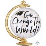 Anagram BALLON MYLAR SUPERSHAPE - GLOBE GRADUATION GO CHANGE THE WORLD