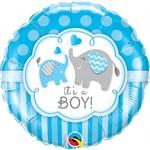 Qualatex BALLON MYLAR 18PO - IT'S A BOY ELEPHANTS