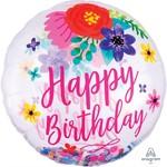 Anagram BALLON MYLAR SUPERSHAPE - HAPPY BIRTHDAY FLORAL AVEC CONFETTIS