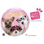 Qualatex BALLON MYLAR 18PO - CHIENS HAPPY BIRTHDAY (ROSE)