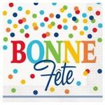Unique SERVIETTES DE TABLE BONNE FÊTE (16) - POIS ARC-EN-CIEL