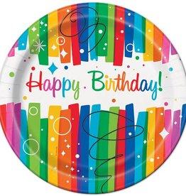 """Unique ASSIETTES 9"""" (8) - HAPPY BIRTHDAY ARC-EN-CIEL"""