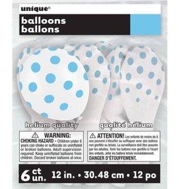"""Unique SAC DE 6 BALLONS EN LATEX 12"""" - POIS BLEU PÂLE"""