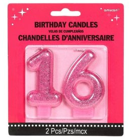 Amscan CHANDELLES D'ANNIVERSAIRE ROSE SCINTILLANTES - 16 SWEET SIXTEEN