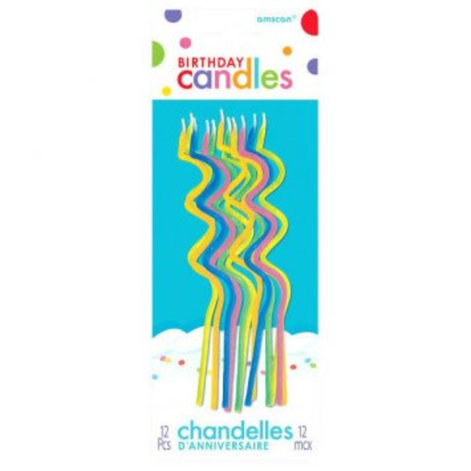 Amscan CHANDELLES SPIRALÉES MULTICOLORES (12)