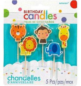 """Amscan CHANDELLES D'ANNIVERSAIRES SUR PICS 2.5"""" - ANIMAUX DE LA JUNGLE (5)"""