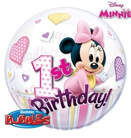 "Qualatex BALLON BUBBLES 22"" 1 ST HAPPY BIRTHDAY BABY MINNIE MOUSE"
