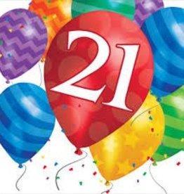 Creative Converting SERVIETTES DE TABLE (16) - BALLONS 21 ANS