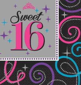 Amscan SERVIETTES DE TABLE (16)  - SWEET 16 CELEBRATION