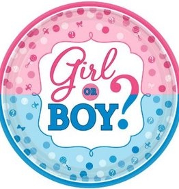 Amscan ASSIETTES RONDES 10.5'' - GIRL OR BOY