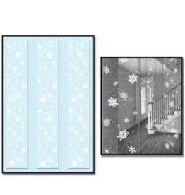 Beistle Co. PANNEAUX DÉCORATIFS EN PLASTIQUE 12PO X 6PI - FLOCONS DE NEIGE (3)
