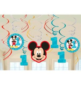 Amscan DÉCORATIONS SUSPENDUES (12) - DISNEY MICKEY 1 AN