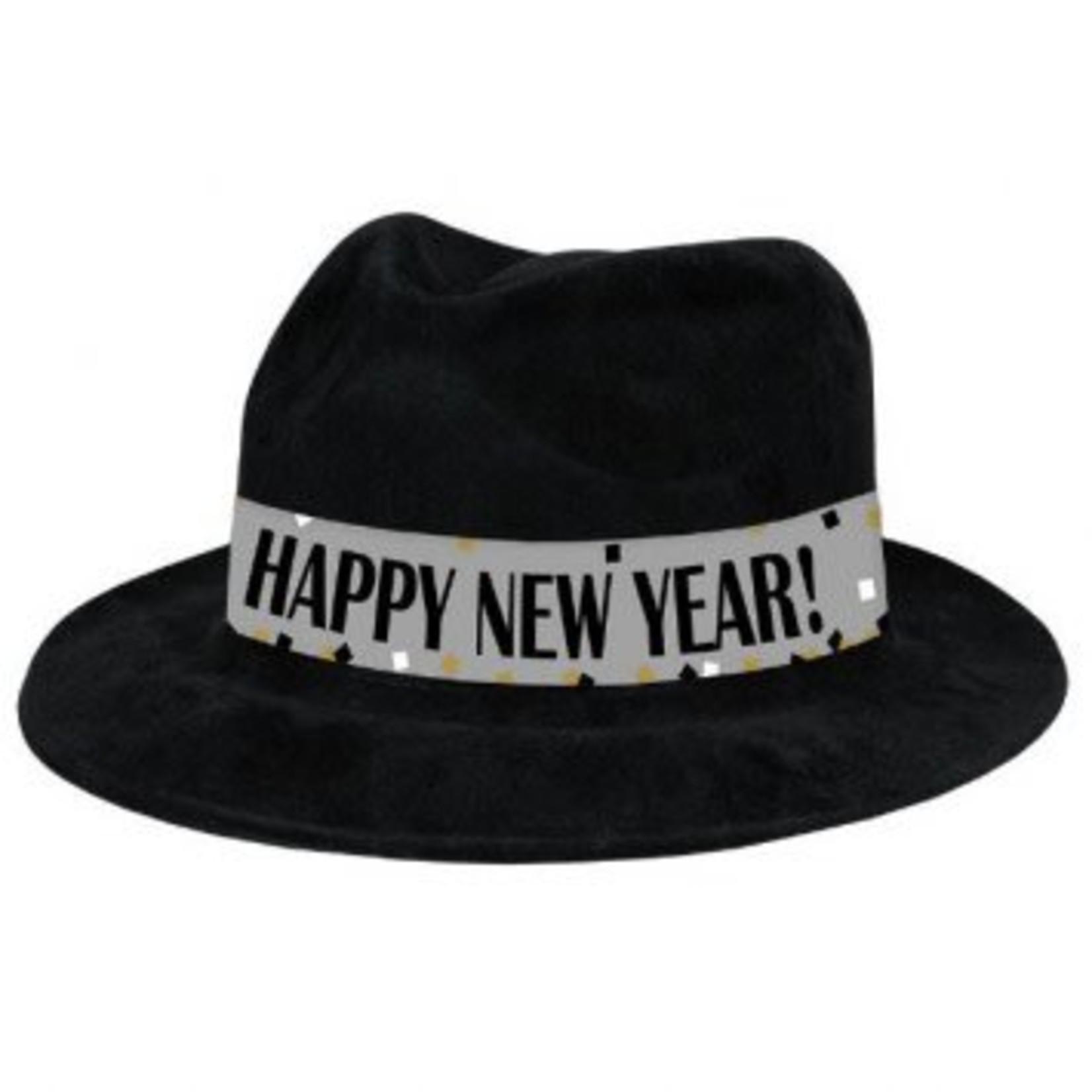 Amscan CHAPEAU FEDORA NOIR HAPPY NEW YEAR