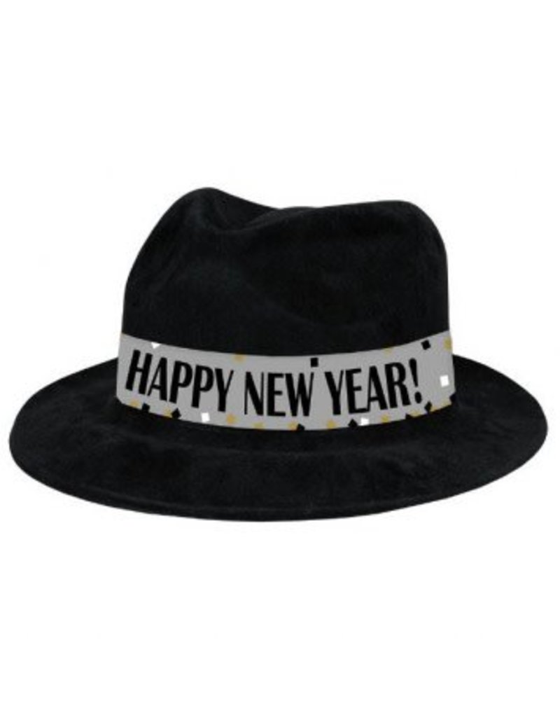 Amscan CHAPEAU FEDORA NOIR HAPPY NEW YEAR