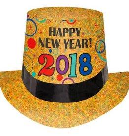 Amscan CHAPEAU HAUT DE FORME OR PRISMATIQUE HAPPY NEW YEAR 2018
