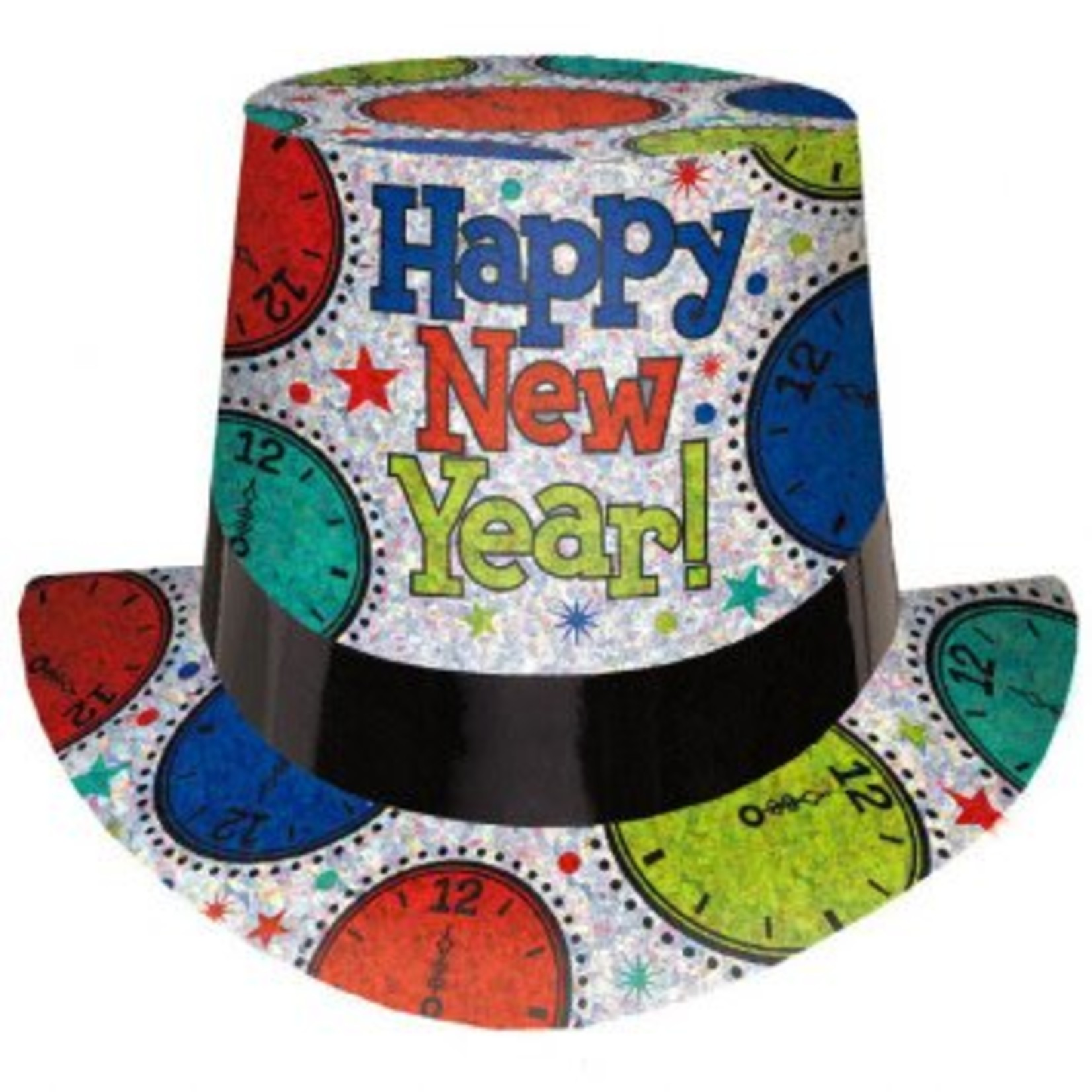 Amscan CHAPEAU HAUT DE FORME HAPPY NEW YEAR ARGENT / MULTI