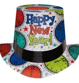 Amscan CHAPEAU HAUT DE FORME HAPPY NEW YEAR ARGENT / MULTI