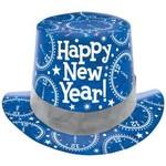 Amscan CHAPEAU HAUT DE FORME BLEU PRISMATIQUE NEW YEAR